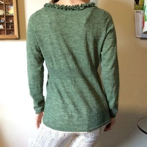 Anthropologie Sweaters - Anthropologie M.O.L. Knits Green Ruffle Cardigan